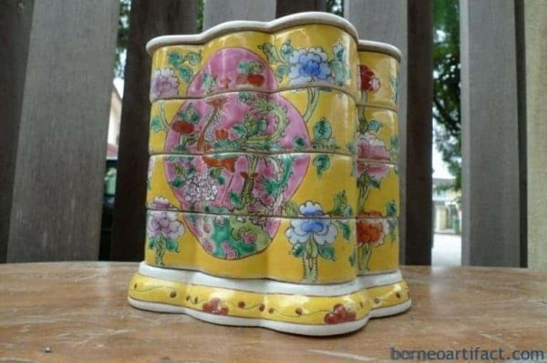 YELLOW BUTTERFLY 200mm NYONYA FOOD CONTAINER Porcelain Tray Box Nonya Chinese