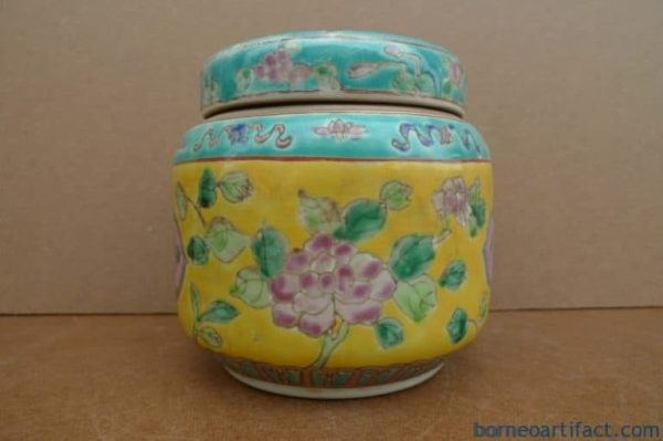 TEA LEAF DOME 120mm Nyonya Porcelain Covered Jar Box Wedding Jewelry Coin Jewel