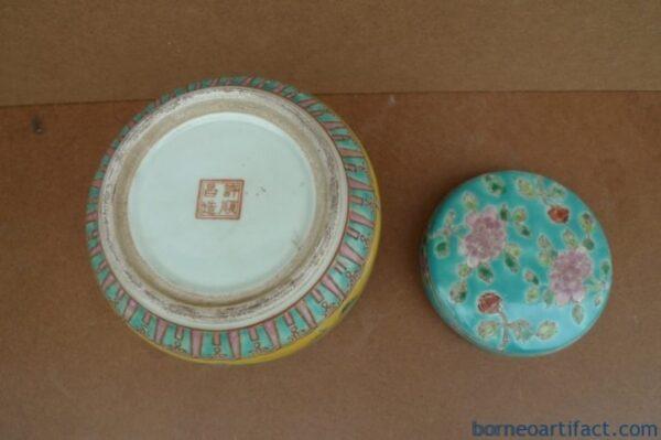 Nyonya Porcelain Covered Jar Box, TEA LEAF DOME 120mm Nyonya Porcelain Covered Jar Box Wedding Jewelry Coin Jewel
