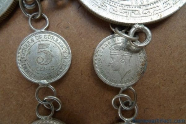 VINTAGE SILVER COIN BELT, VINTAGE SILVER COIN 800mm BELT (Oldest Coin 1899) Sterling Jewel Jewelry Borneo