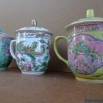 EXTREMELY RARE 130mm SET OF OLD NYONYA COVERED TEACUP Phoenix & Peonies Cup