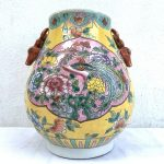 EGG SHAPE JAR 280mm VASE Phoenix & Peonies Flower Pot Pottery Nonya Nyonya Urn