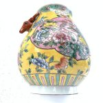 EGG SHAPE colourful JAR 280mm VASE Phoenix and Peonies Flower Pot Pottery baba Nyonya Urn