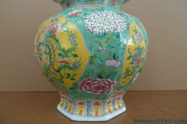 OCTAGON EXPENSIVE 520mm NYONYA COVERED JAR Ginger Pot Pottery Porcelain Chinese
