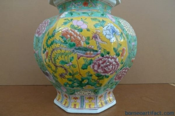 OCTAGON EXPENSIVE NYONYA COVERED JAR, OCTAGON EXPENSIVE 520mm NYONYA COVERED JAR Ginger Pot Pottery Porcelain Chinese