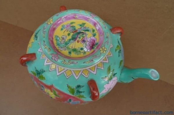 GREEN TEAPOT 200mm NYONYA KITCHEN WARE POT TEAKETTLE STEAMER PORCELAIN CERAMIC