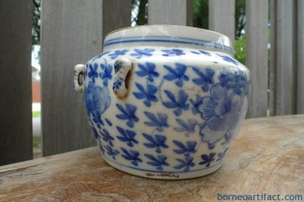 #2 VINTAGE ANTIQUE 175mm WHITE & BLUE Sweet Pea KAMCHENG Ching Dynasty Porcelain