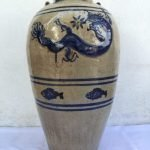 XXXL WHITE GLAZED 830mm/32.7 BLUE NAGA JAR Vase Pot Pottery Porcelain Antique