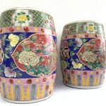 GORGEOUS baba nyonya furniture Stool BLUE PAIR Chair Phoenix Peonies Chinese Porcelain