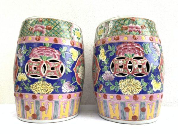 GORGEOUS baba nyonya furniture Stool BLUE PAIR Chair Phoenix Peonies Chinese Porcelain