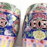 GORGEOUS NYONYA Stool BLUE PAIR Chair Bench Phoenix Peonies Chinese Porcelain