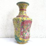 YELLOW NYONYA VASE Jar Phoenix Amongst Peonies Flower Pot Pottery Vase Ceramic