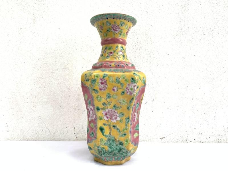 Peonies Flower Pot, YELLOW NYONYA VASE Jar Phoenix Amongst Peonies Flower Pot Pottery Vase Ceramic