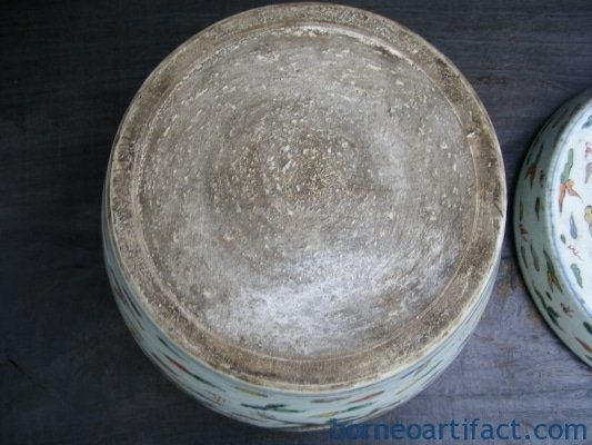 CYLINCRICAL Covered Jar WHITE Phoenix & Dragon Pot Jar Box LATE QING / CHING