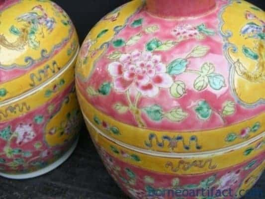 #4 TWO CHUPU ~PINK EXTERIOR Green Interior~ Chinese Food Container Box Storage