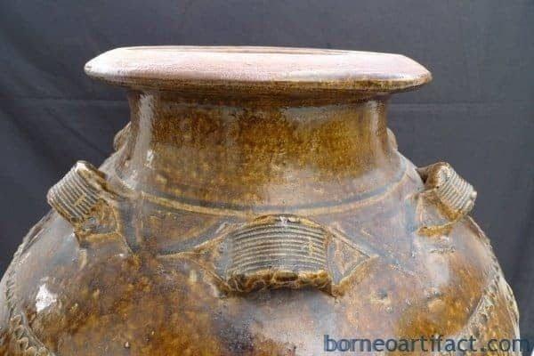 83cm HUGE ANTIQUE Glazed Jar Tajau Authentic Collection Vase Urn Pot Pottery