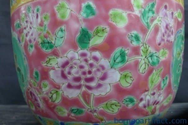 Nyonya Covered Jar Kamcheng, BLUE INTERIOR PINK EXTERIOR Chupu Nyonya Covered Jar Kamcheng Kam cheng Pot