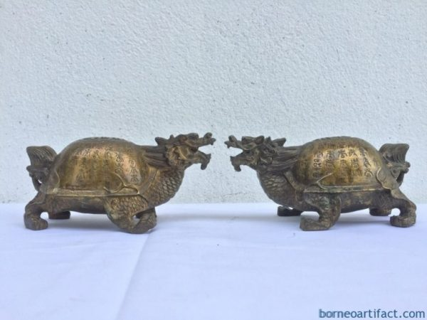Chinese Mythology 140mm DRAGON TURTLE (One Pair) Brass Statue Sculpture Feng Shui