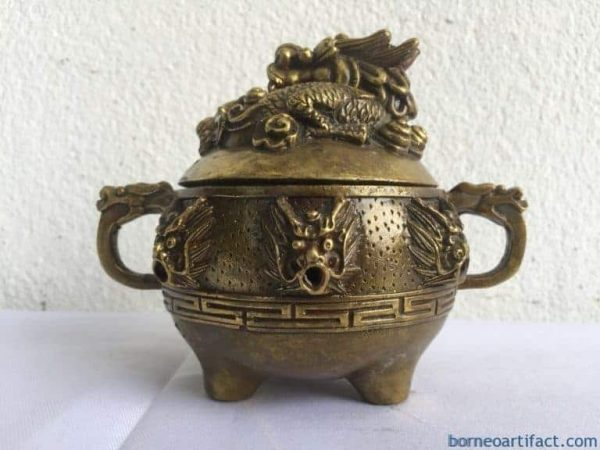 BRASS COVERED POT Dragon Feng Shui Jar Bowl Jewelry Box