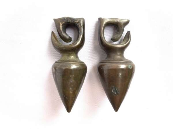 EXTREME EAR WEIGHT 380g ANTIQUE EARRING PAIR Dayak Tribe Ornament Brass Jewelry
