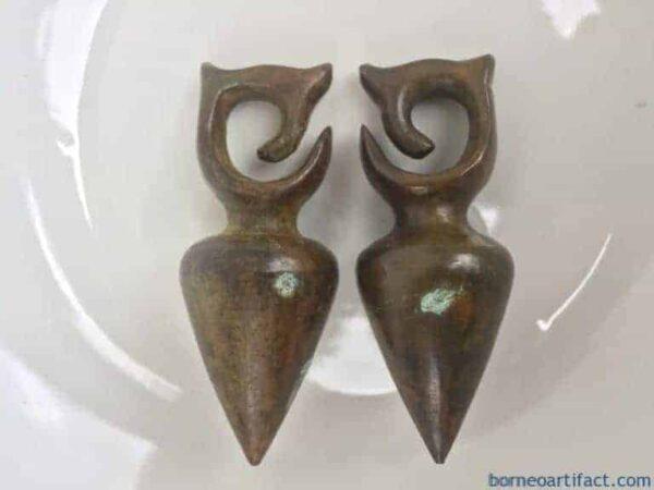 BODY PIERCING & TATTOO 380g HEAVY ANTIQUE EARRING Native Art Jewel Brass Jewelry