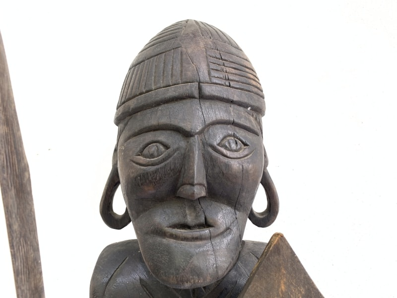 DAYAK WARRIOR Sculpture, GIANT STATUE 930mm DAYAK WARRIOR Sculpture Artifact Image Icon Borneo Headhunter