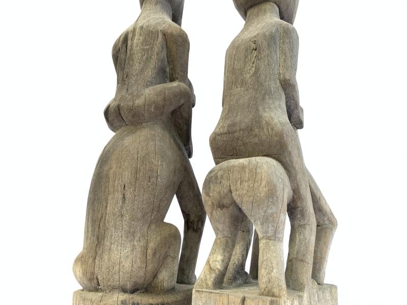 HORSE&MANIRONWOODmmPATUNGAuthenticDayakStatuePrimitiveFigureBorneo