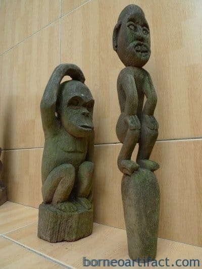 GUARDIAN POLE & ORANG UTAN Authentic Dayak Eroded Statue Primitive Figure Borneo