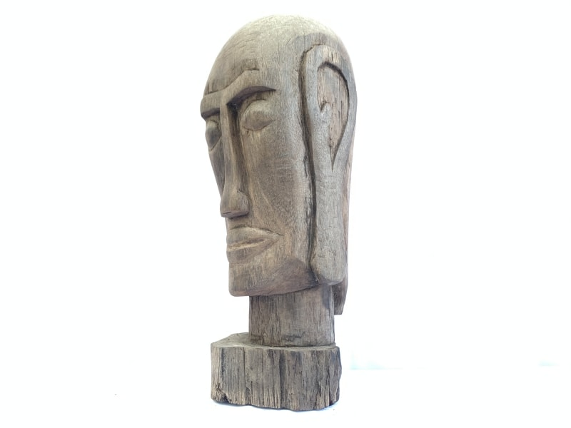 DAYAKHEADWOODENSKULLFACIAL.lbStatueSculpturePrimitiveFigureBorneo
