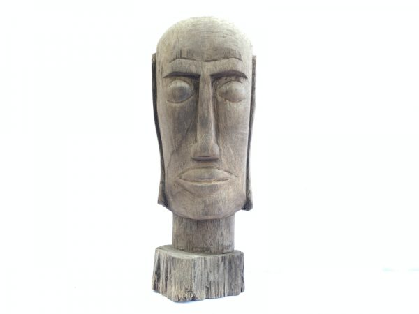 DAYAK HEAD WOODEN SKULL FACIAL 12.5 lb Statue Sculpture Primitive Figure Borneo