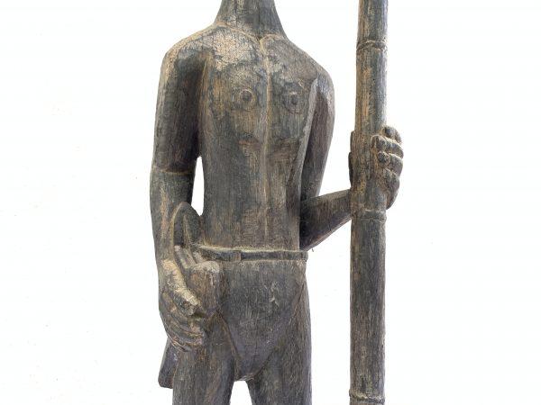 MASSIVE 840mm DAYAK WARRIOR and SPEAR Antique Sculpture Artifact Borneo Headhunter