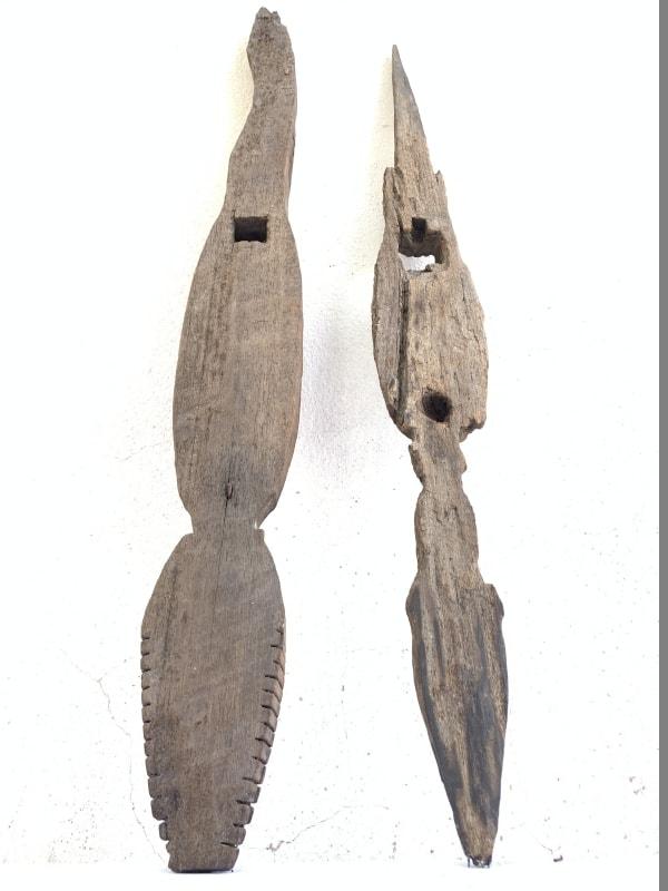 TONGGOK DAYAK 850mm POLE Crocodile Weathered Statue Spiritual Guardian Reptile Animal Sculpture