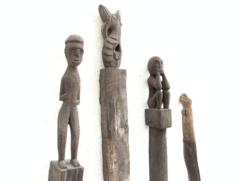 ANTIQUEAUTHENTIC mmGUARDIANPOLEDayakErodedStatuePrimitiveFigure