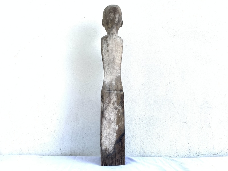 AUTHENTIC AGED SCULPTURE, IRONWOOD DAYAK 830mm STATUE POLE Patung Dyak Figure AUTHENTIC AGED SCULPTURE