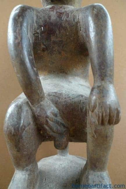 BORNEO TRIBE 400mm/15.7 NAKED PENIS STATUE Dayak Dyak Figure Sculpture Asia