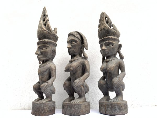 NAKED Nias WARRIOR Panglima Statue, THREE NAKED Nias WARRIOR Panglima Statue Sculpture Image Icon Figure Sexy Xmas
