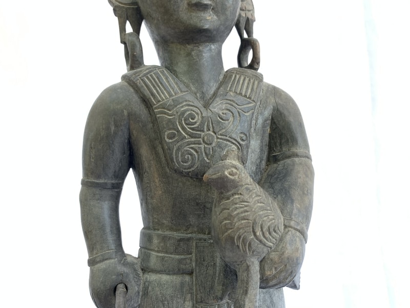 WARRIOR IMAGES Antique Dayak Statue, WARRIOR IMAGES Antique Dayak Statue Sculpture Icon Figure Home Bar Office Borneo
