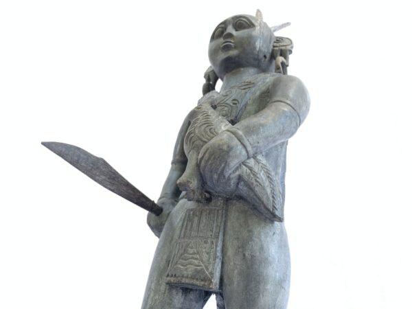 Antique Asian WARRIOR IMAGES Dayak Statue Sculpture Icon Figure Home Bar Office Borneo