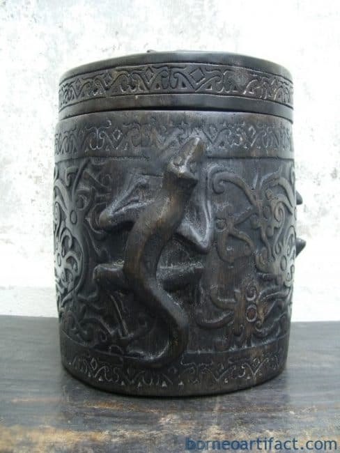 CROCODILE CONTAINER Lupong Medicine Ornament Chamber Dayak Tattoo Box Jar Pot #5