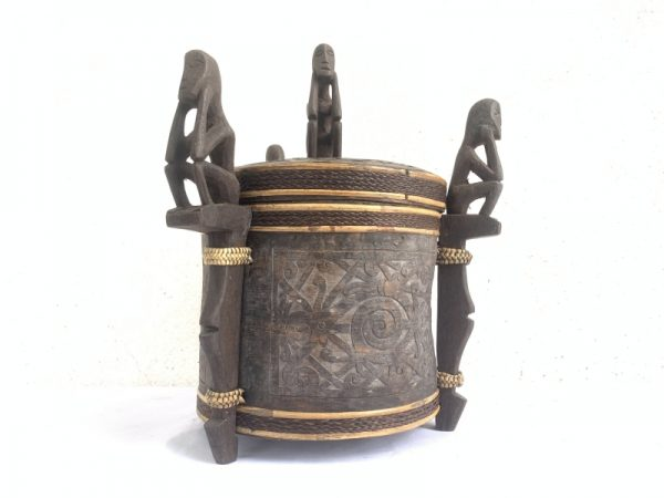 4.) DAYAK CHAMBER 280mm LUPONG DAYAK Medicine Box Statue Asia Artifact Borneo