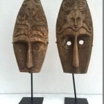 (ONE PAIR) HUSBAND & WIFE MASK Nias Indonesia Artifact Sculpture Figure Statue