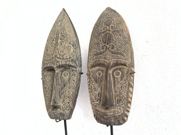 MALE&FEMALEmmNIASNATIVEMASKSculptureFigureStatueCarvingAsiaAsian