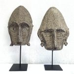TWO GORGEOUS 18.9 On Stand MASK Sculpture Figure Statue Asia Wall Art Painting