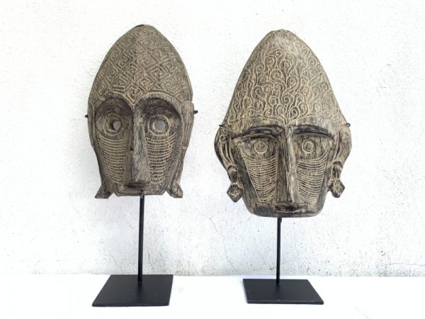 On Stand MASK Sculpture Figure Statue, TWO GORGEOUS 18.9″ On Stand MASK Sculpture Figure Statue Asia Wall Art Painting