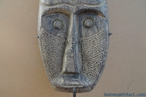 HARDWOOD TRIBAL MASK 560mm/22 ON STAND Native Indonesia Asia Asian Facial Face