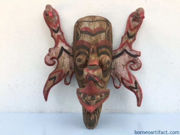 TOPENG HUDOG DAYAK MASK Orang Ulu Borneo Facial Face Image Home Bar Sculpture