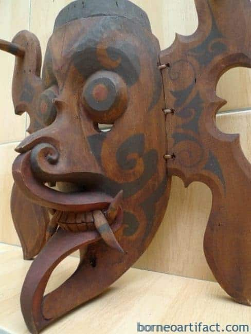 #4 DAYAK GHOST MASK Office Home Bar Pub Wall Deco Craft TOPENG HUDOG DYAK BORNEO