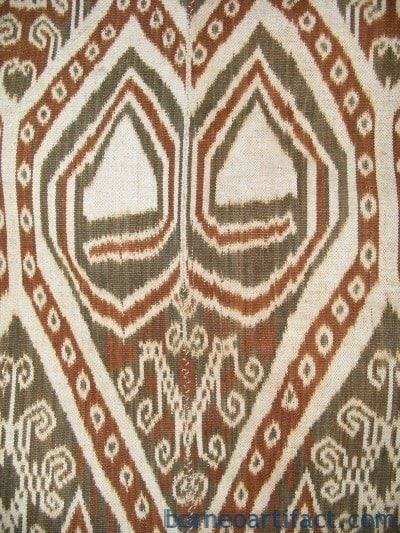 SPECTACULAR DAYAK BLANKET Ancestral Iban Textile Skull & Ritual Cloth Fabric
