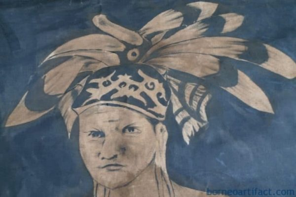 DAYAK HUNTER FIGURE Sculpture Drawing On Canvas, #2 OIL PAINTING: DAYAK HUNTER FIGURE Sculpture Drawing On Canvas Borneo Tribe