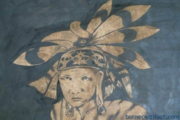 OIL PAINTING, #4 OIL PAINTING: 1400 x 900mm DAYAK HUNTER FIGURE Sculpture Drawing Wall Sarawak